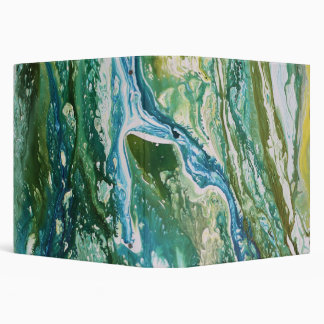 Colorful abstract green blue turquoise waterfall 3 ring binders