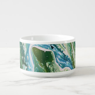 Colorful abstract green blue turquoise waterfall bowl