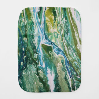Colorful abstract green blue turquoise waterfall burp cloth