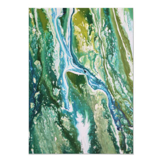 Colorful abstract green blue turquoise waterfall card