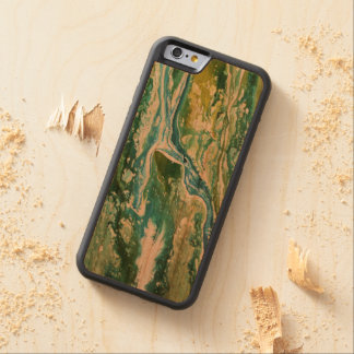 Colorful abstract green blue turquoise waterfall carved cherry iPhone 6 bumper case