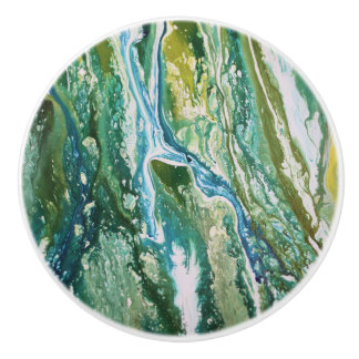 Colorful abstract green blue turquoise waterfall ceramic knob