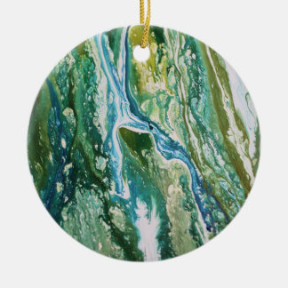 Colorful abstract green blue turquoise waterfall ceramic ornament