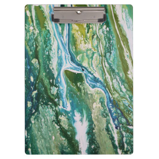 Colorful abstract green blue turquoise waterfall clipboard