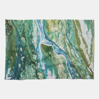 Colorful abstract green blue turquoise waterfall kitchen towel