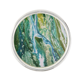 Colorful abstract green blue turquoise waterfall lapel pin