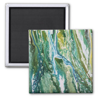 Colorful abstract green blue turquoise waterfall magnet