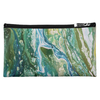 Colorful abstract green blue turquoise waterfall makeup bag