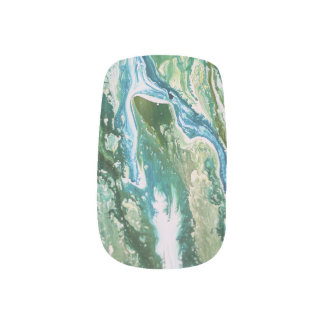 Colorful abstract green blue turquoise waterfall minx nail art
