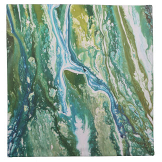 Colorful abstract green blue turquoise waterfall napkin