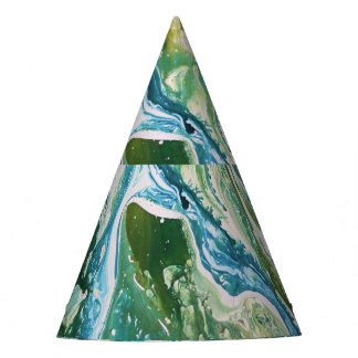 Colorful abstract green blue turquoise waterfall party hat
