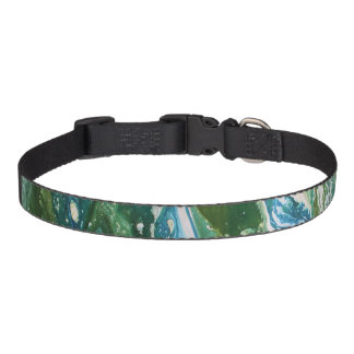 Colorful abstract green blue turquoise waterfall pet collar