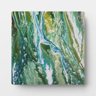 Colorful abstract green blue turquoise waterfall plaque