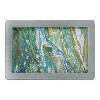 Colorful abstract green blue turquoise waterfall rectangular belt buckles