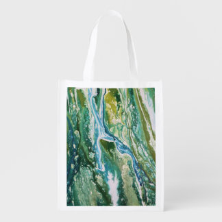 Colorful abstract green blue turquoise waterfall reusable grocery bag