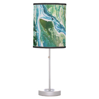 Colorful abstract green blue turquoise waterfall table lamp