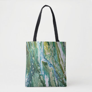 Colorful abstract green blue turquoise waterfall tote bag