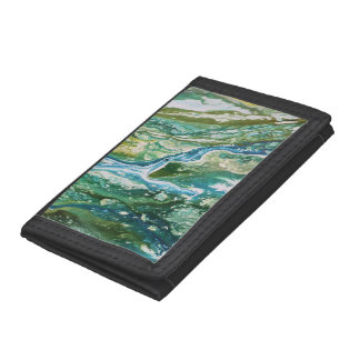 Colorful abstract green blue turquoise waterfall tri-fold wallets