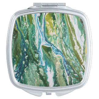 Colorful abstract green blue turquoise waterfall vanity mirror