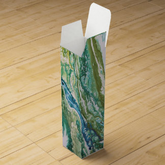Colorful abstract green blue turquoise waterfall wine box