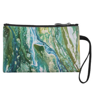 Colorful abstract green blue turquoise waterfall wristlet