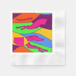Colorful Abstract Greyhound Racing Dog Disposable Napkins
