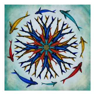 Colorful Abstract Koi Dharma Wheel Poster