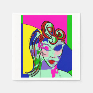 COLORFUL ABSTRACT LADY PORTRAIT NAPKINS