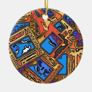 Colorful Abstract Layers Ceramic Ornament