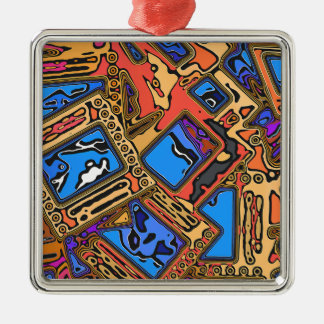 Colorful Abstract Layers Metal Ornament