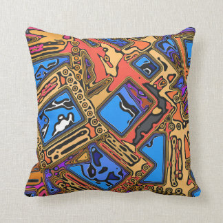 Colorful Abstract Layers Throw Pillow