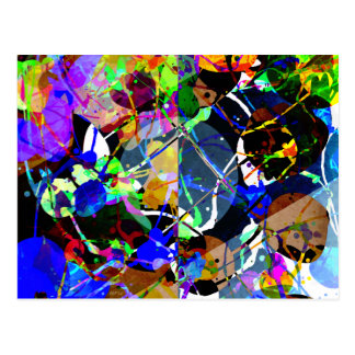 Colorful Abstract Mixed Media Postcard