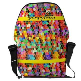 Colorful Abstract Mosaic Rainbow Stained Glass Courier Bags