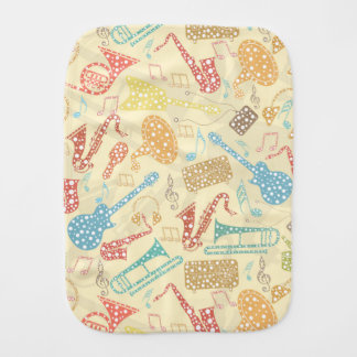 Colorful Abstract Music Instruments Pattern 2 Burp Cloth