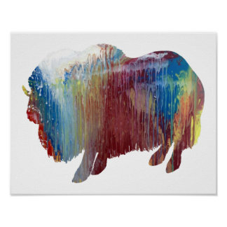 Colorful abstract muskox silhouette poster
