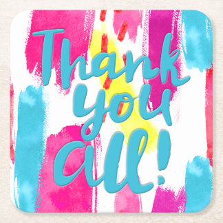 Colorful Abstract Paint Splashes Thank You All Square Paper Coaster