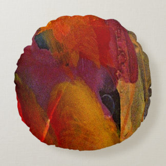 Colorful Abstract Painted Orange Purple Pillow
