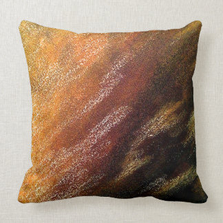 Colorful Abstract Painted Yellow Gold Pillow