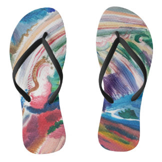 colorful abstract painting flipflops flip flops