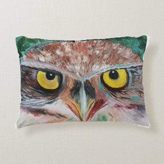 Colorful abstract painting of burrowing owl decorative pillow