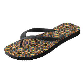 Colorful Abstract Pattern Flip Flops