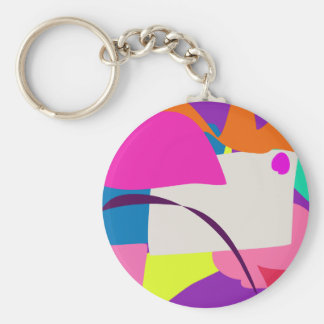 Colorful Abstract Picture Basic Round Button Keychain
