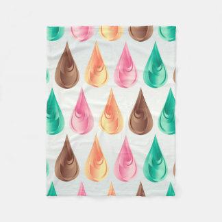 Colorful Abstract Pink Green Brown & Orange Drops Fleece Blanket