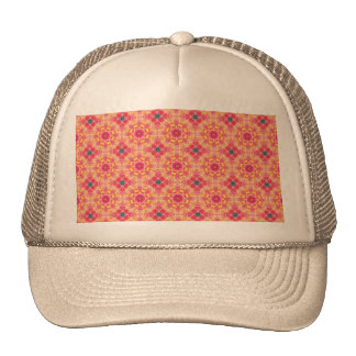 Colorful abstract pink orange floral pattern. trucker hat