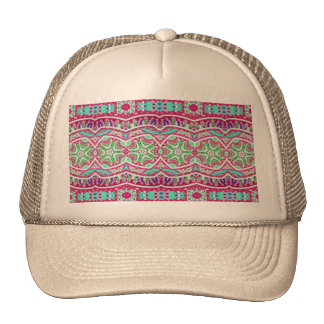 Colorful abstract pink teal floral pattern. trucker hat