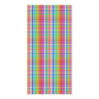 Colorful abstract plaid pattern photo card