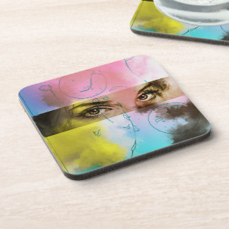 Colorful Abstract Pop Art, 6 Plastic Coasters Set