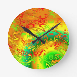 Colorful Abstract Pop Art Design Round Clock