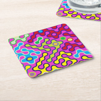 Colorful Abstract Psychedelic Pop Art Pattern Square Paper Coaster