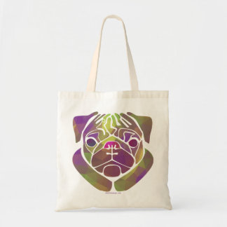 Colorful Abstract Pug Budget Tote Bag